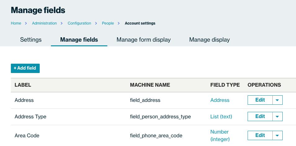 manage fields