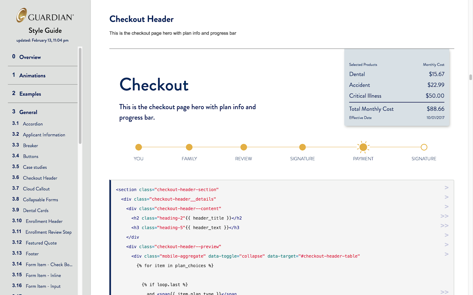 focus on style guide component showing checkout page with progress bar