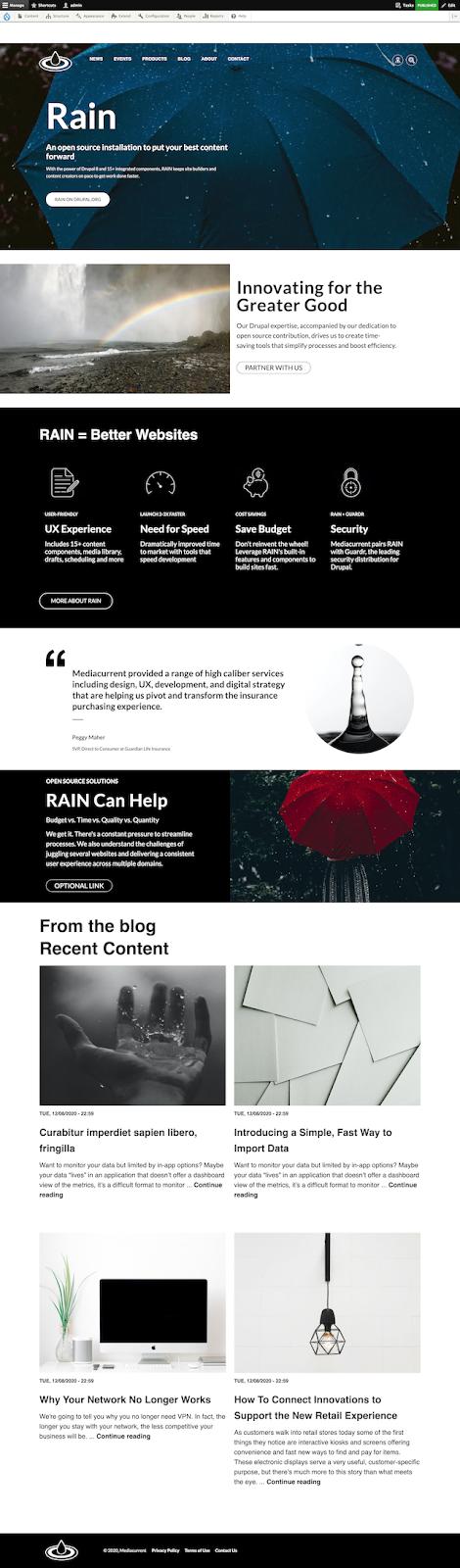 Homepage design for Mediacurrent's Rain CMS for Drupal 9 Nimbus theme