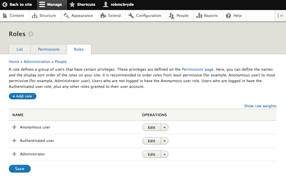 Screenshot of managing roles in Drupal CMS