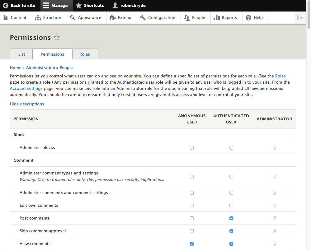 screenshot of permissions in Drupal