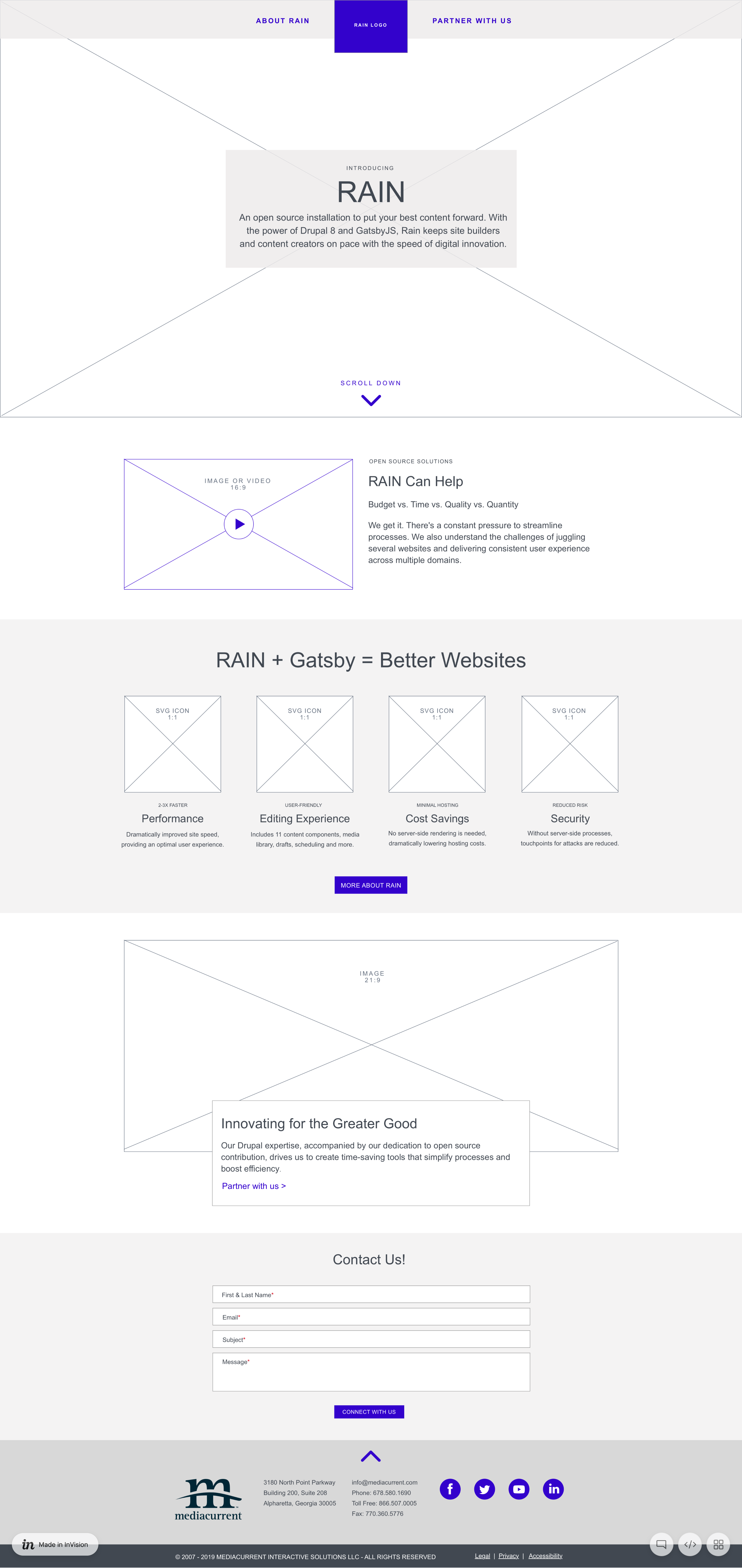 A screenshot of a low-fidelity wireframe of a website made using Rain
