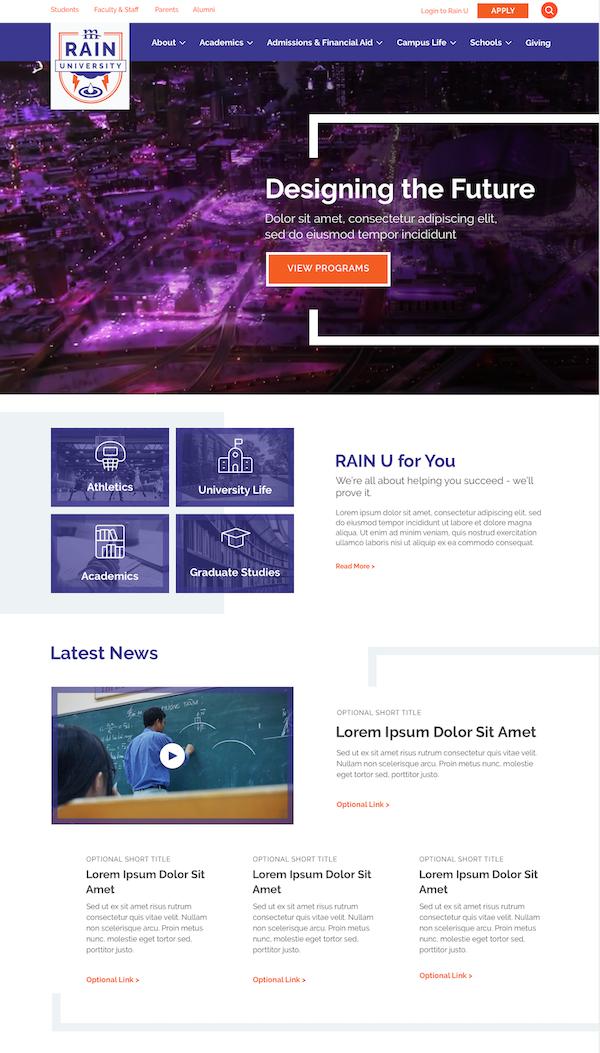 rain university webpage