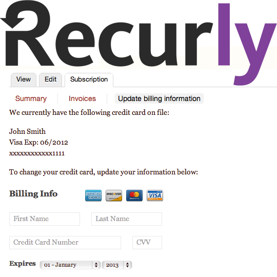 Recurly page shows option to update billing and credit card information