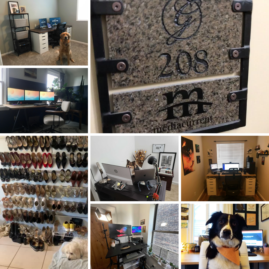 collage of at-home workspaces: desks, pets, and a shoe collection