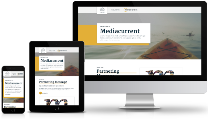 Mediacurrent branded responsive components on mobile, tablet, and desktop screens