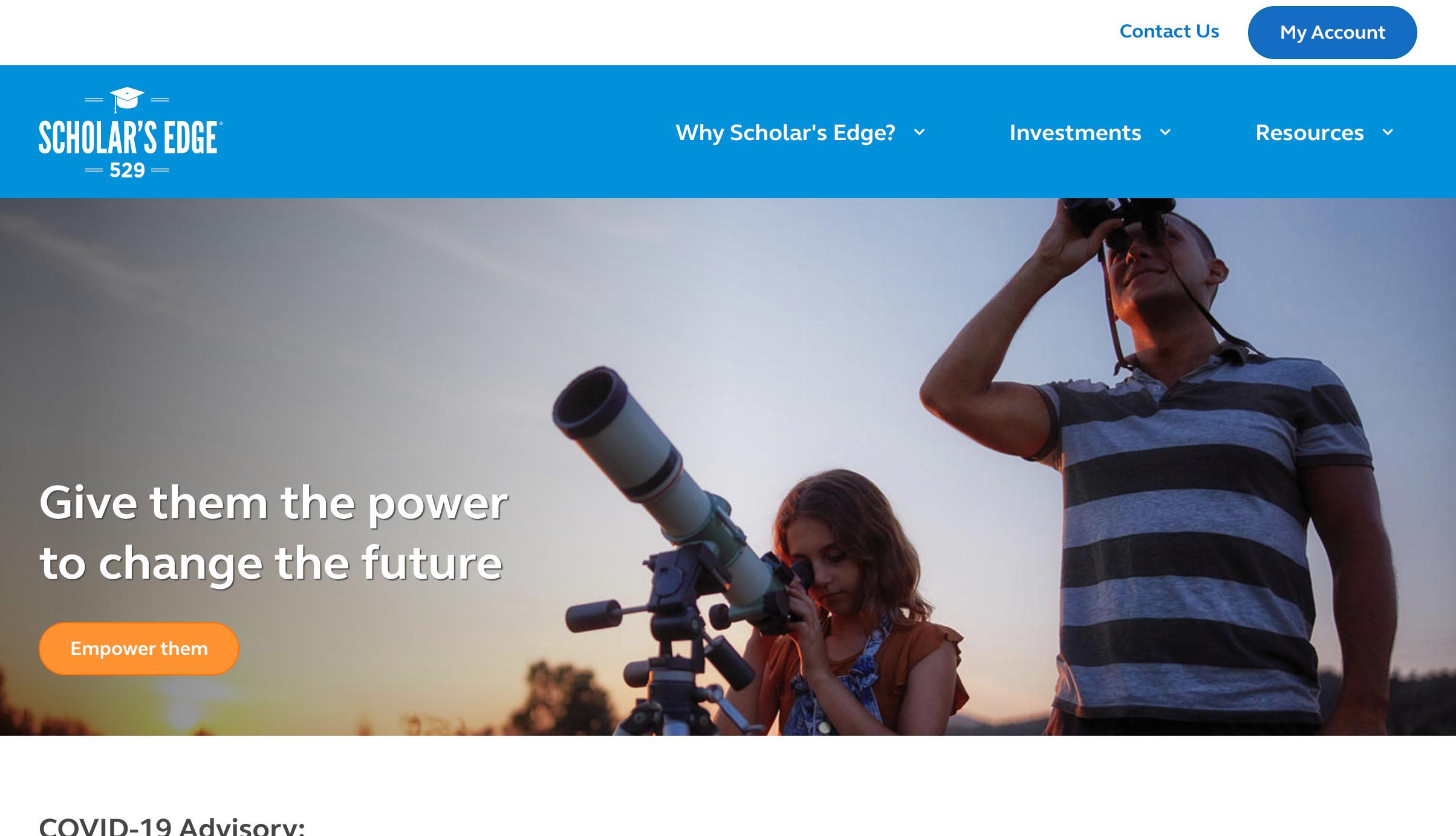 Screenshot of Scholar's Edge homepage