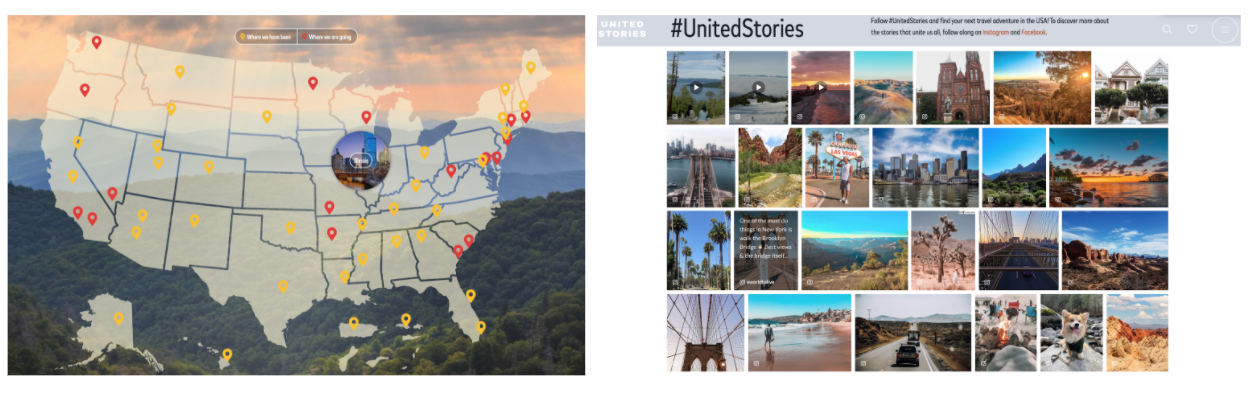 United Stories landing page interactive map of the USA