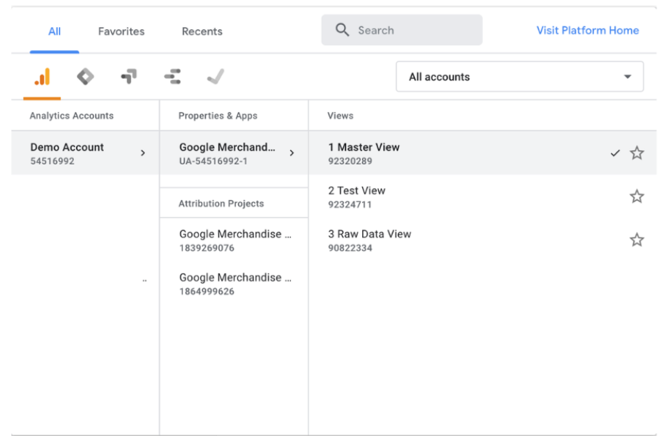 Google Analytics report with master, test, and raw data  views