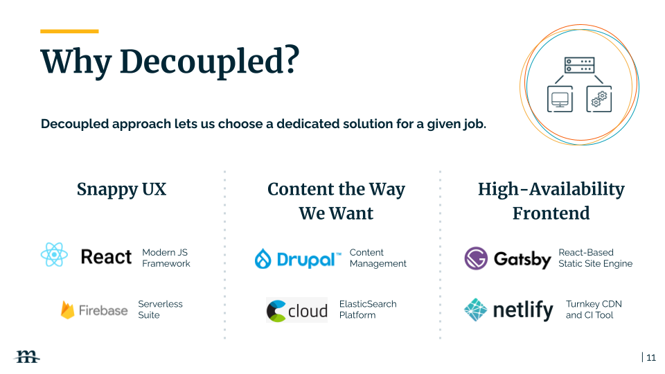 A decoupled approach lets us choose a dedicated solution for a given job