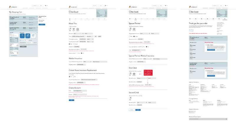wireframes show user journey to find a price quote
