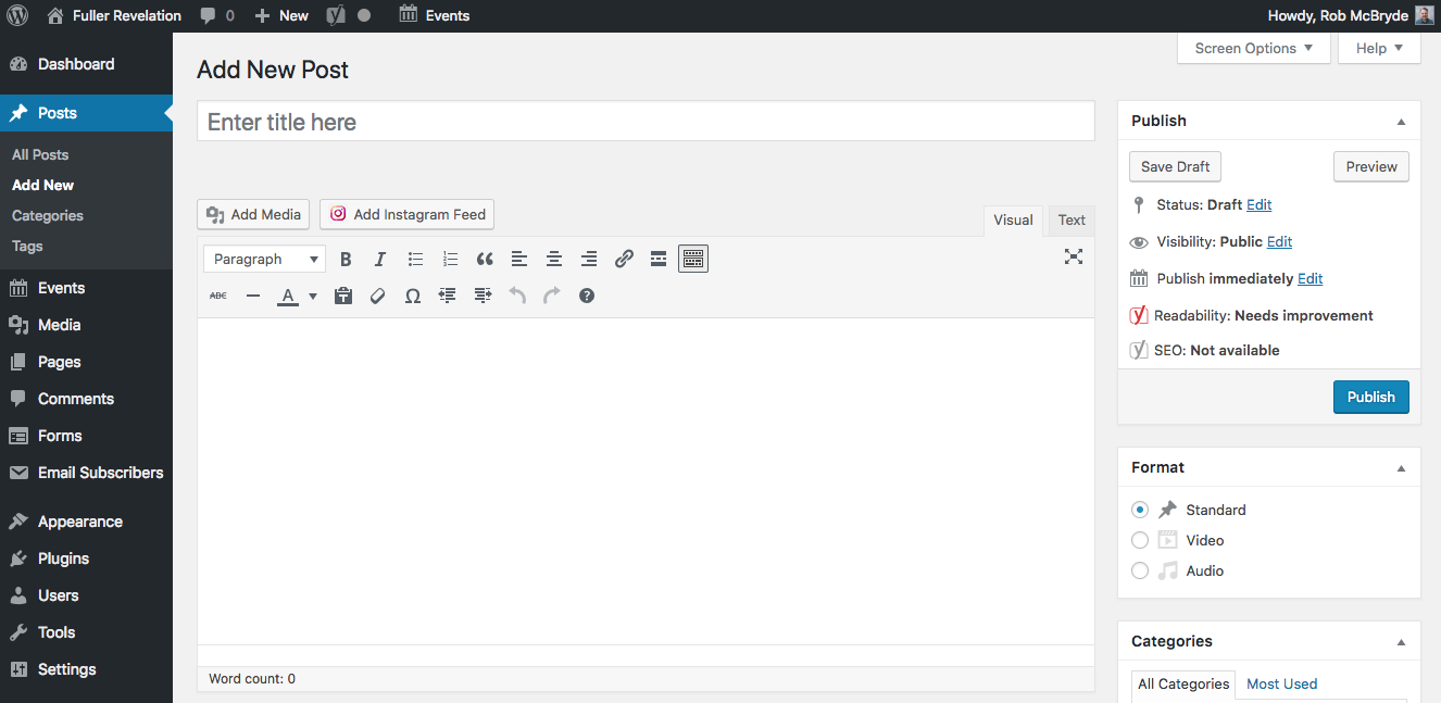 Screenshot of Wordpress admin interface for adding a new blog