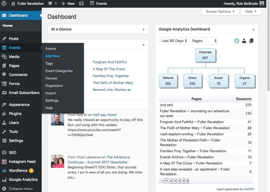 Screenshot of Wordpress user-friendly dashboard