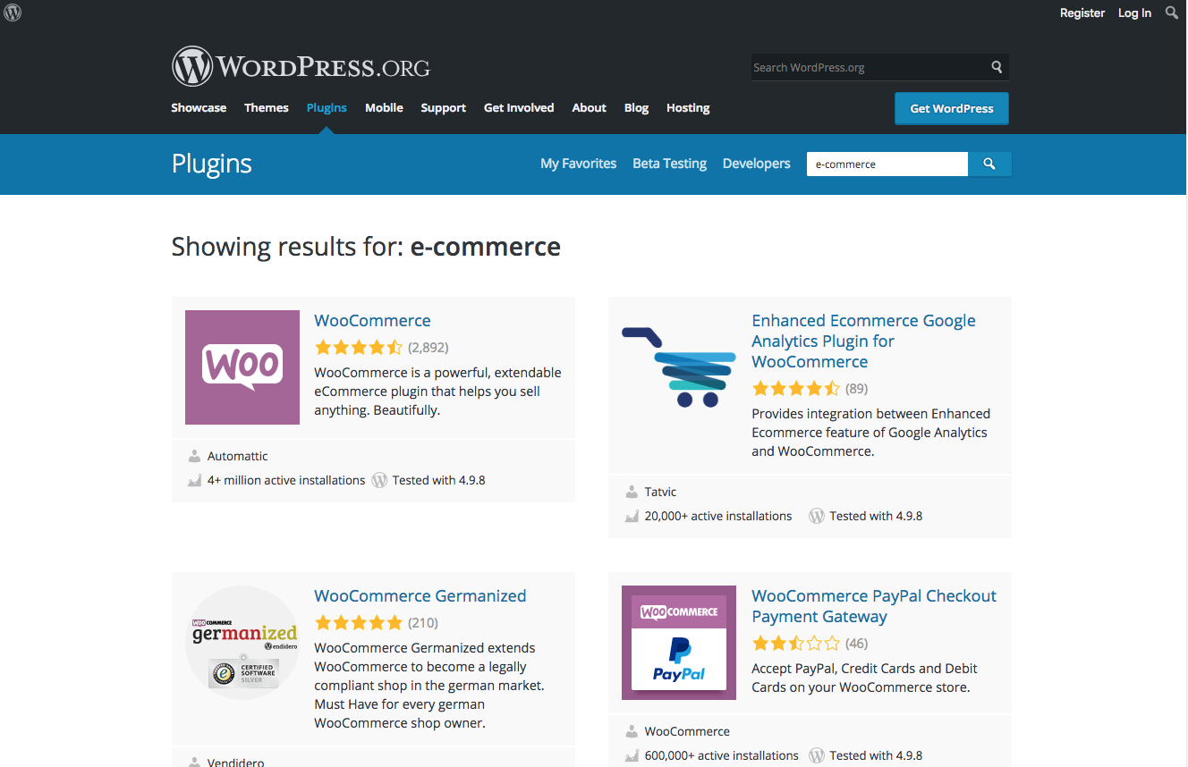 Wordpress.org ecommerce plugins