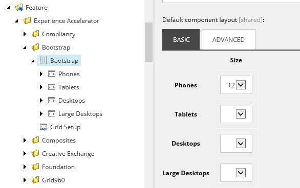 Sitecore allows the setting of different columns for different devices