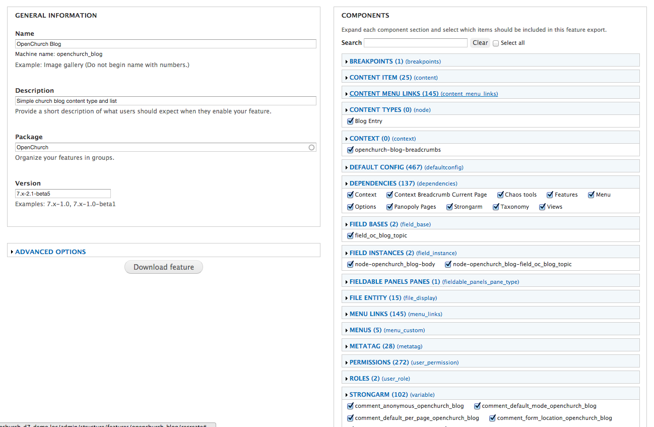 Drupal Features Screen