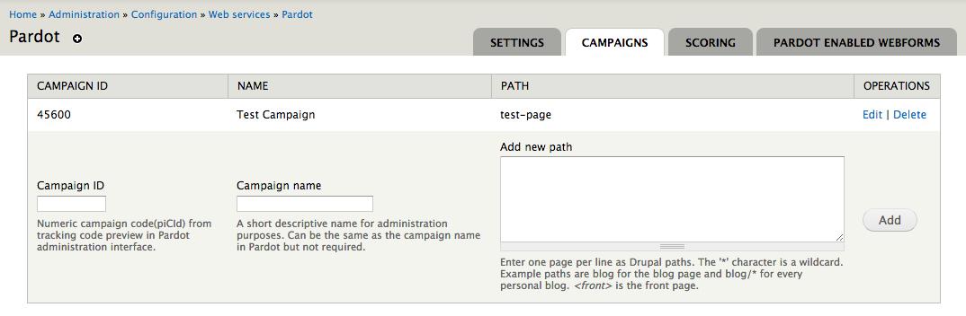 Pardot Campaign Configuration