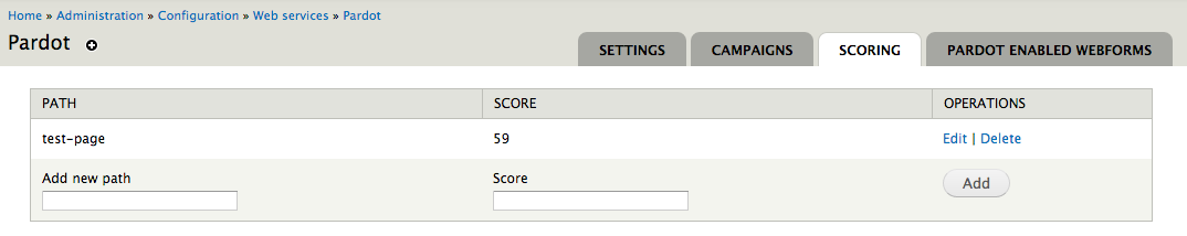 Pardot Scoring Configuration