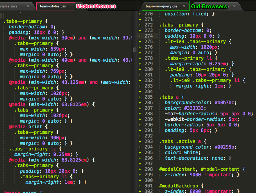 One stylesheet with media queries, and one without.