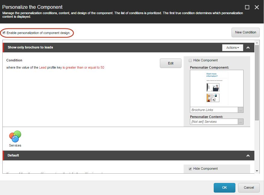 Sitecore's personalization interface